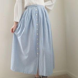 Light Jean Button Up Midi Pleated Skirt